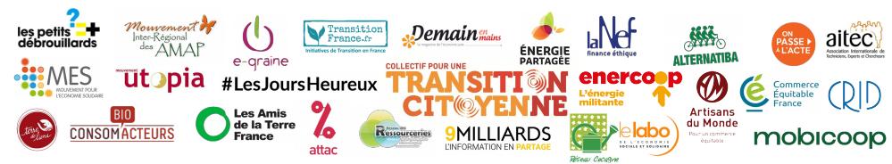 Logos des Membres du Collectif pour une Transition Citoyenne en janvier 2018